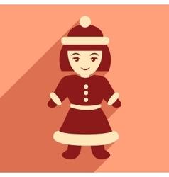 Flat icon with long shadow santa girl vector
