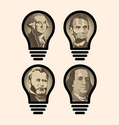 Four idea light bulbs that are us presidents vector