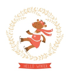 Hello winter card with funny deer girl ice skating vector