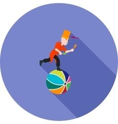 Juggling sticks on ball vector