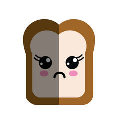 Kawaii cute surprised bread icon vector