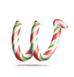 letter w 3d realistic candy cane alphabet vector image vector image