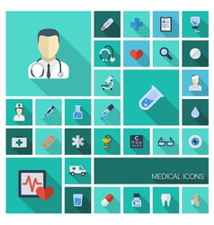 Medical flat colored icons with long shadows vector image vector image