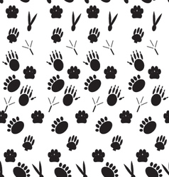 Monochrome pattern footprints various mammals vector