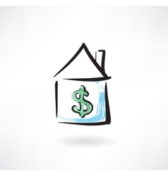 Mortgage grunge icon vector image vector image