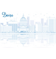 Outline boise skyline with blue buildings vector