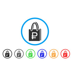 Rouble shopping rounded icon vector