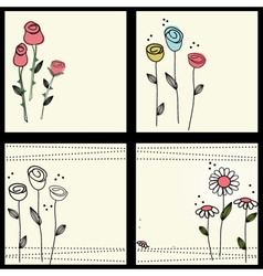 Set Floral card with butterflies vector image vector image
