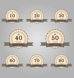 Set of anniversary retro badges vector