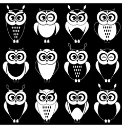 Set of cute black and white owls vector image vector image