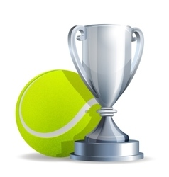 Silver trophy cup with a tennis ball vector