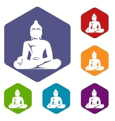 Statue of Buddha sitting in lotus pose icons set vector image