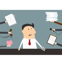 Stressed cartoon businessman has a lot of work vector image