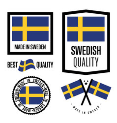 Sweden quality label set for goods vector