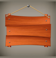 wooden board on rope vector image vector image