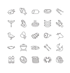 Meat and fish icons vector