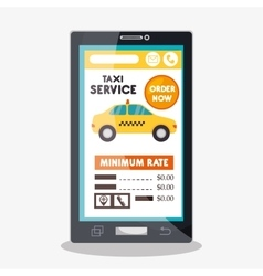 Taxi cab service online smartphone vector