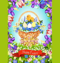 Easter paschal eggs basket greeting card vector