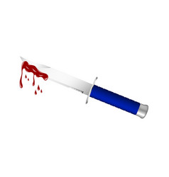 Knife with blue handle and bloody blade vector