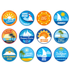 Summer party labels and emblems with sun vector