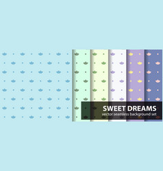 Seamless pattern set sweet dreams with cotton vector