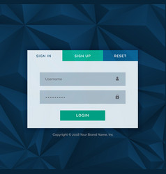 Modern login form template for your web design vector