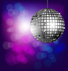 Disco ball on bokeh background vector