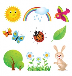 cartoon summer set vector image
