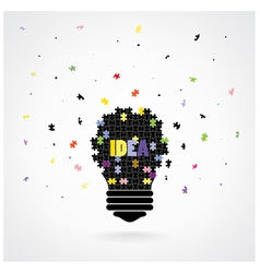 Creative puzzle light bulb idea concept background vector