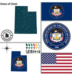 Map of utah with seal vector