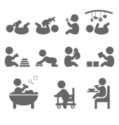Baby action flat icons isolated on white vector