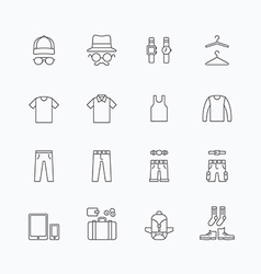 Linear web icons set - man clothing store vector