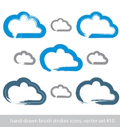Set of hand-drawn simple stroke cloud icons vector