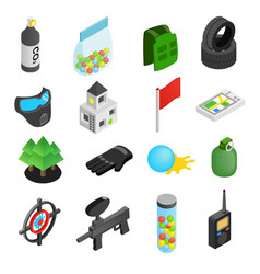 Paintball game isometric 3d icons vector