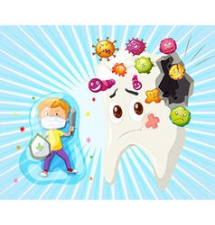 Boy fighting with tooth decay vector