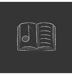 Music book drawn in chalk icon vector