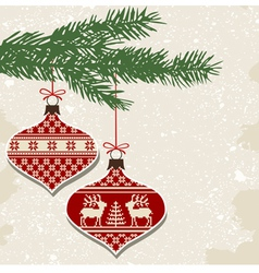 Retro christmas balls with ornaments vector image