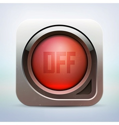Metallic glossy power button vector