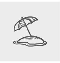 Beach umbrella sketch icon vector image