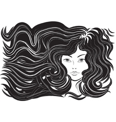 Beautiful woman with flowing hair vector