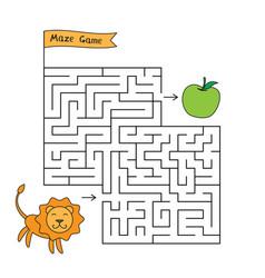 cartoon lion maze game vector image