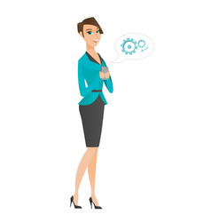 Caucasian business woman holding a mobile phone vector