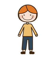 Color silhouette cartoon blonded boy with coat and vector