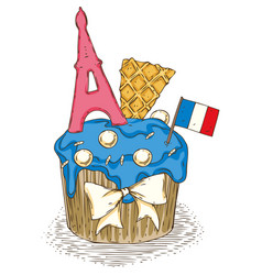 Cupcake with french paris symbols vector