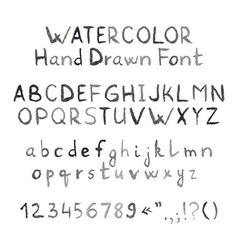 Dark Grey Watercolor Hand Drawn Font vector image