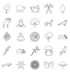 dendritic icons set outline style vector image