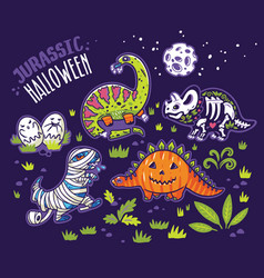 Dinosaurs in costumes for halloween set of vector