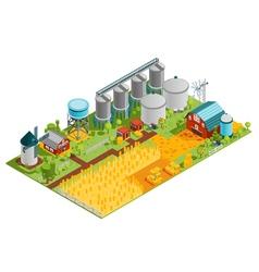 Farm buildings isometric landscape vector