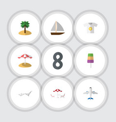 Flat icon beach set of deck chair clothes vector