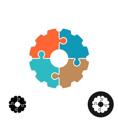 Gear shape puzzle logo or infographic base concept vector